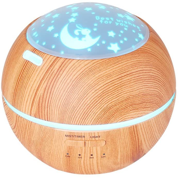 TOMNEW 150ML Aromatherapy Diffuser Ultrasonic Essential Oil Diffuser Kids Room Fragrance Mini Aroma Humidifier Wood Grain Waterless Auto Shut-Off and 7 Color LED Lights Changing for Home Baby (Brown)