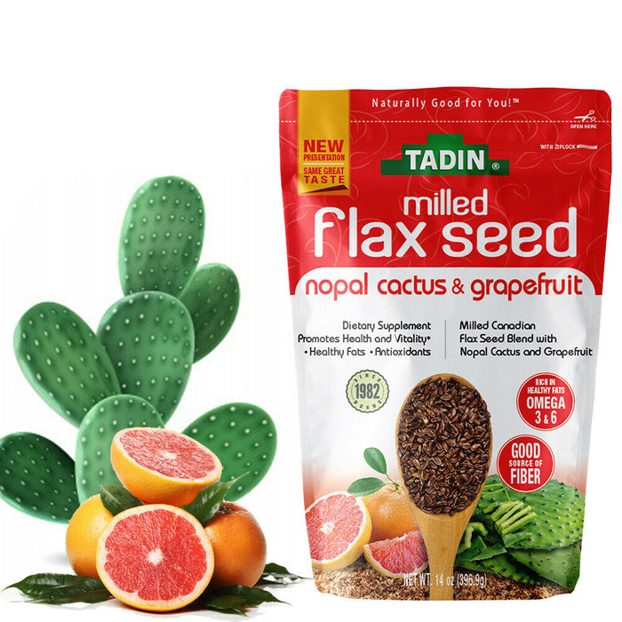 Tadin Nopal and Grapefruit Milled Flaxseed. Fiber and Omega 3 Supplement. 14 Oz