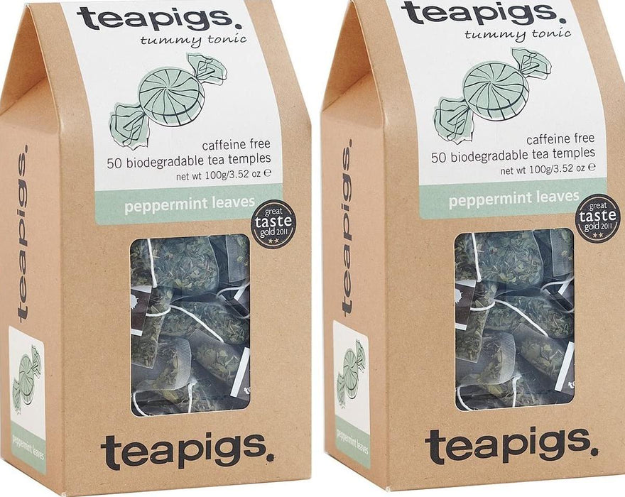 Teapigs Peppermint Leaves Tea 50 Temples (Pack of 2 - 100 Temples)