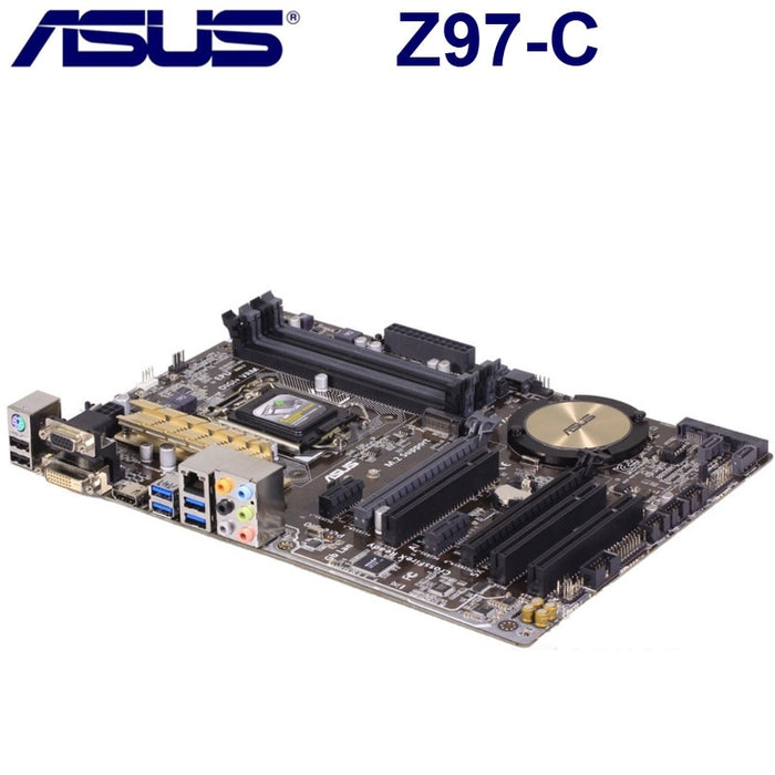 Used LGA 1150 Asus Z97-C Motherboard Intel Z97 DDR3 32GB Cpu Core i3 i5 i7 PCI-E 3.0 Original Desktop Asus Z97-C Mainboard ATX