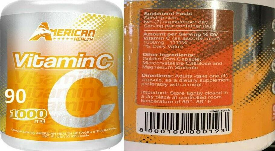 Vitamin C High Absorption Supplements Immune Support fast shipping 2 bottles