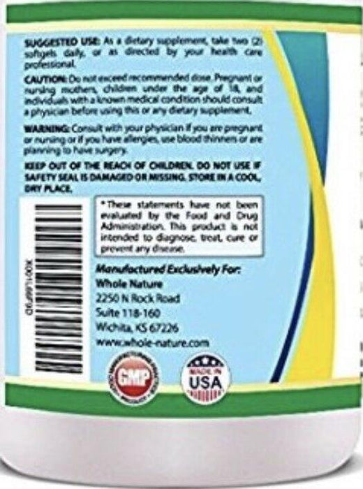WHOLE NATURE 1500mg Omega 3 Fish Oil Supplements with Maximum Strength