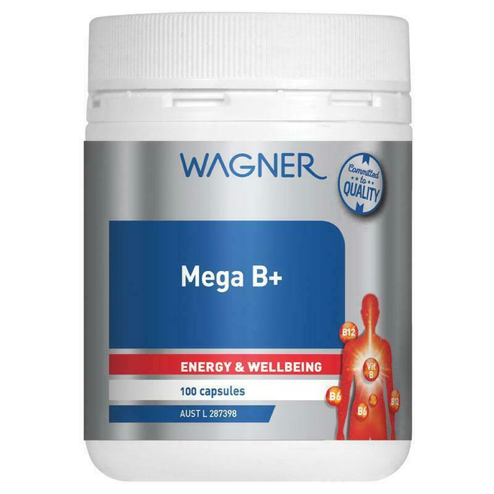 Wagner Mega B+ 100 Capsules Support Healthy Nervous System Energy Production
