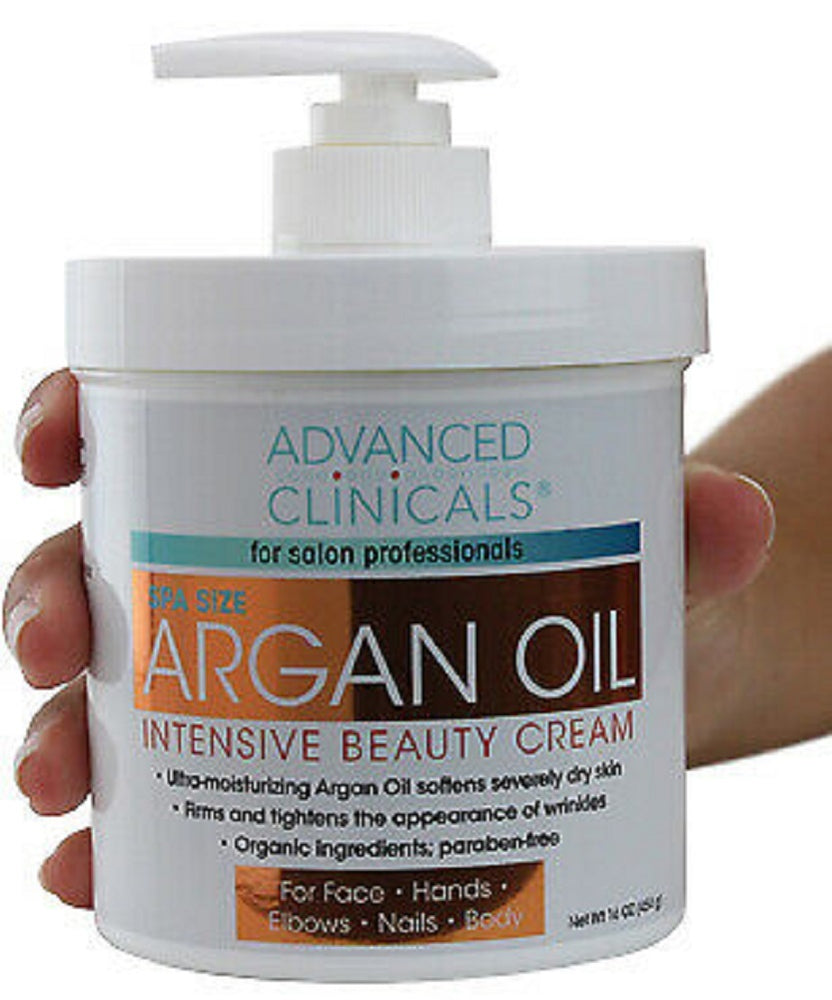 Advanced Clinicals Spa Size Argan Oil Intensive Beauty Cream 16 Oz (454g)