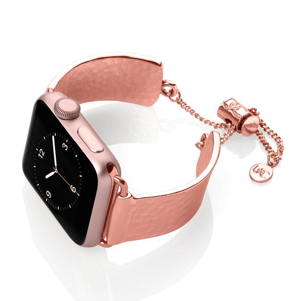 The Coco Mini Rose Gold Hammered Metal Apple Watch Jewelry Band by The Ultimate Cuff