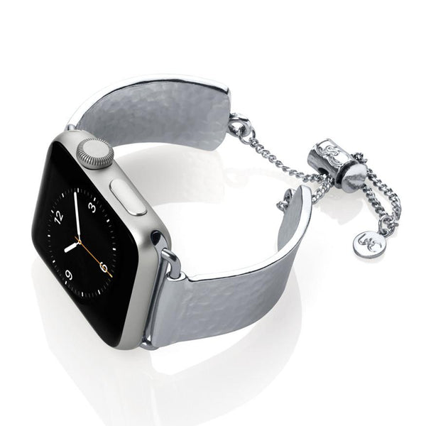 The Coco Mini Silver Hammered Metal Apple Watch Jewelry Band by The Ultimate Cuff