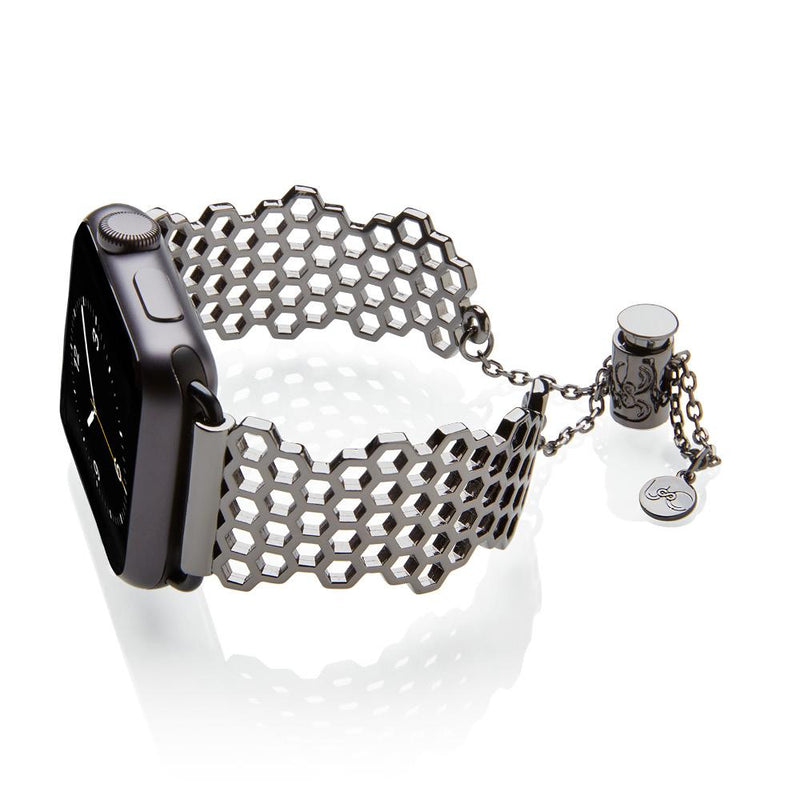 The Honey Honeycomb Space Gray Apple Watch Jewelry Band by The Ultimate Cuff