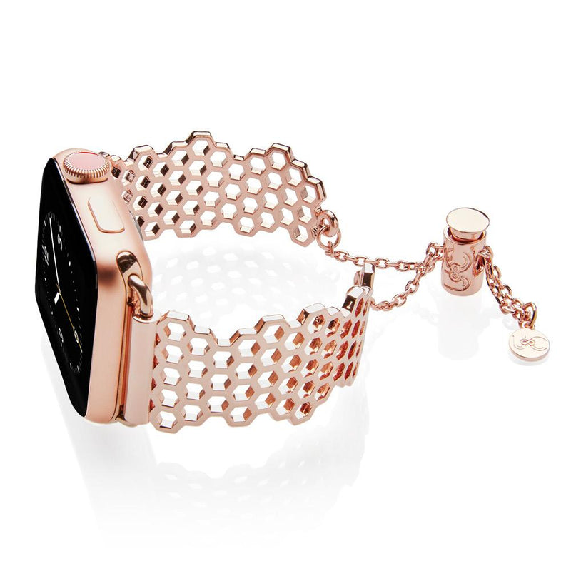 The Honey Honeycomb Rose Gold Apple Watch Jewelry Band by The Ultimate Cuff