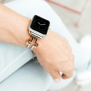 Cross Shaped Silver Apple Watch Band by The Ultimate Cuff