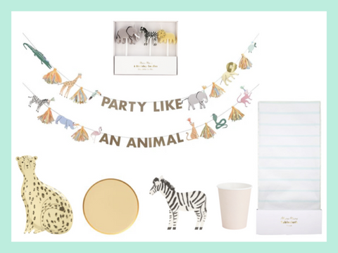 animal safari themed party box supplies and decorations