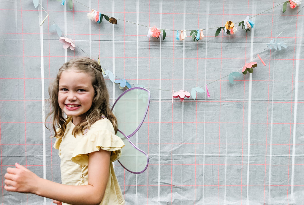 fairy garden birthday party photo wall