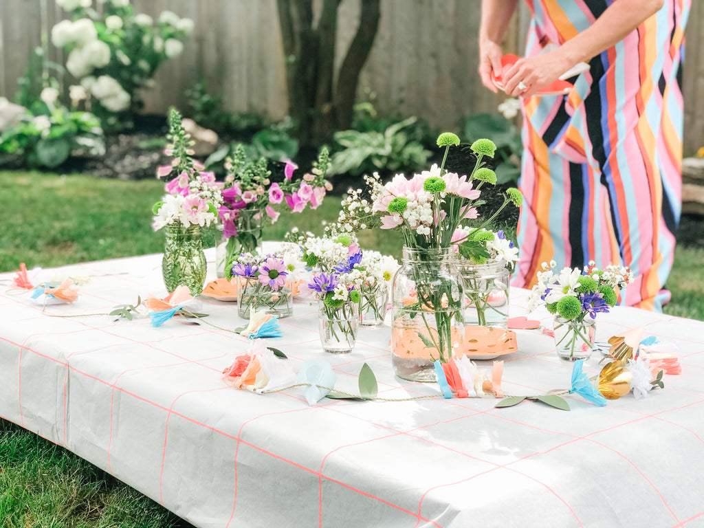 fairy garden birthday party table decor