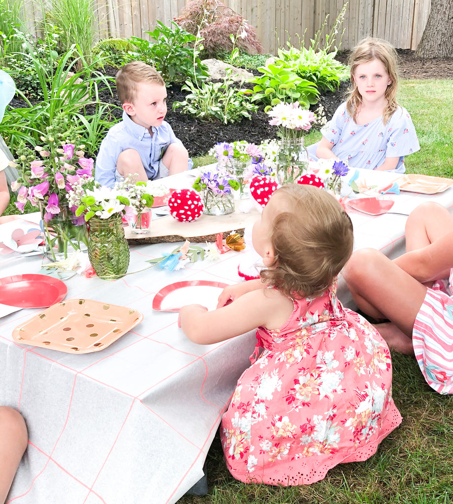 fairy garden birthday party table set-up