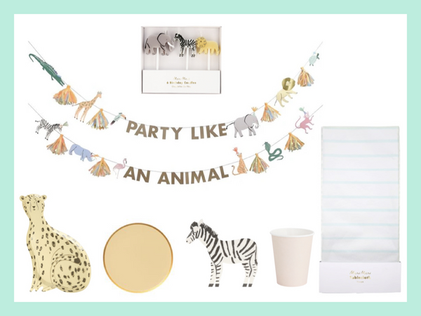 Animal Safari Birthday party in a box and decor