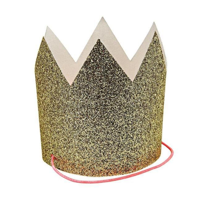 gold glitter crowns made by Meri Meri