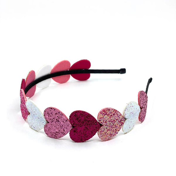 little ai red, pink and silver heart headband.