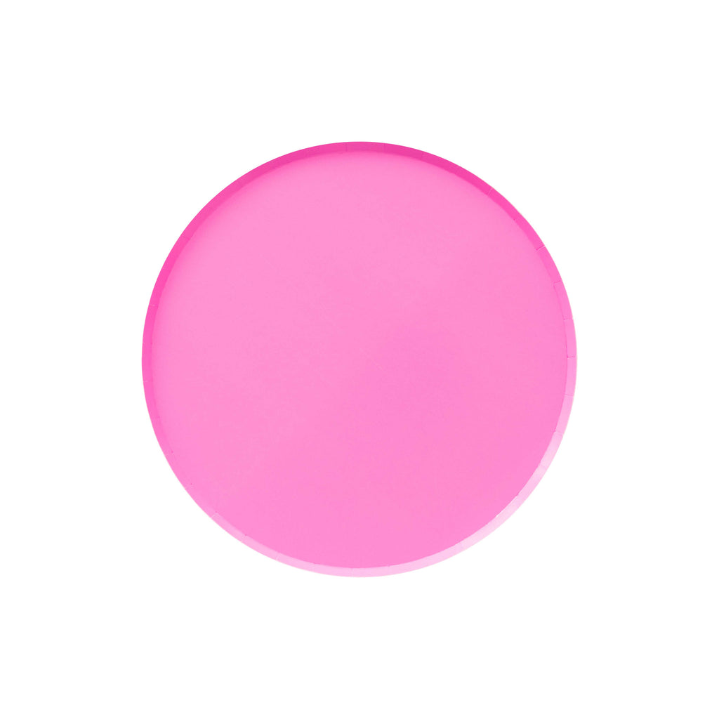neon rose pink paper party plate. Made by Oh Happy Day