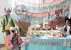 colourful fringe garland for animal and circus birthday party.  Made by Meri Meri