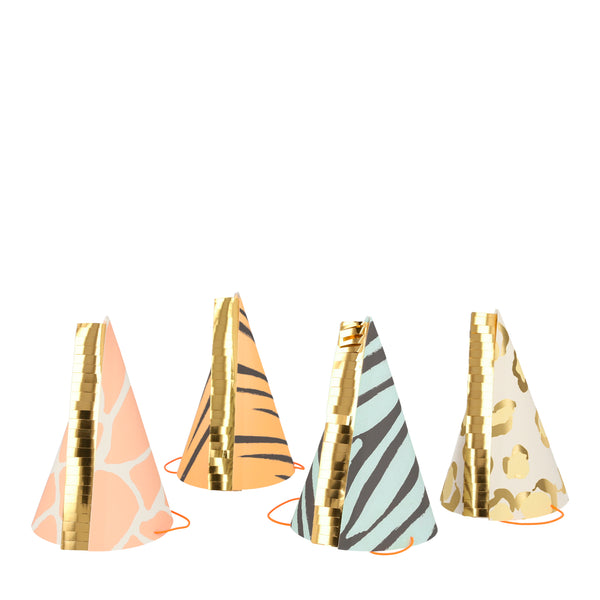 Animal print party hats. Made by Meri Meri
