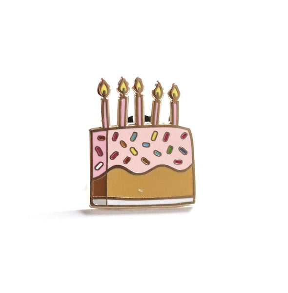 birthday cake enamel pin made by penny paper co perfect birthday gift or loot bag item