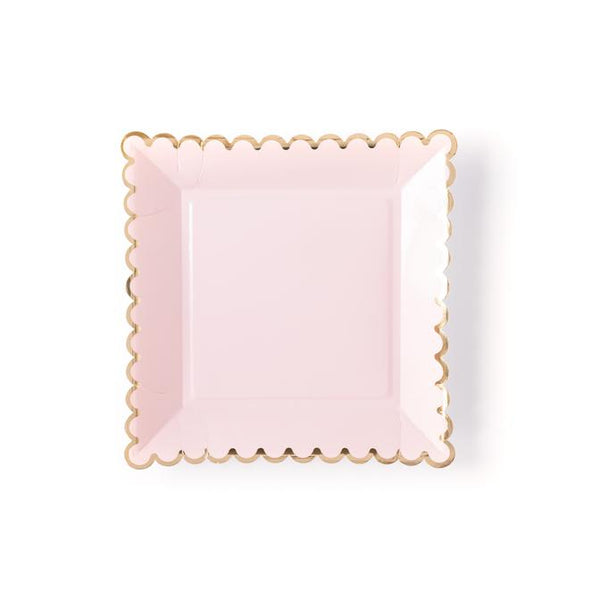 blush pink scalloped gold paper party plates by My Mind's Eye