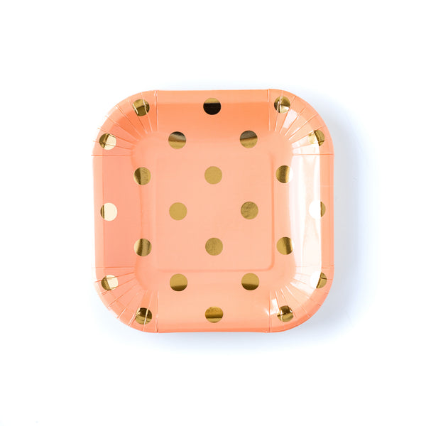 coral paper plates with gold polka dots made by My Mind's Eye.