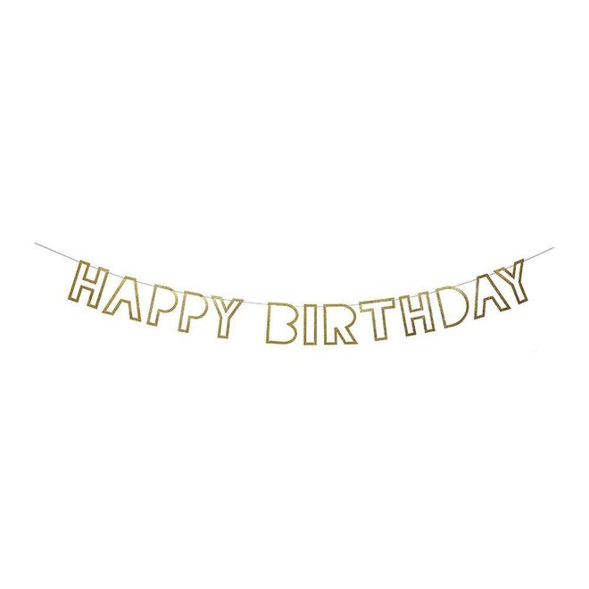 gold glitter happy birthday party banner