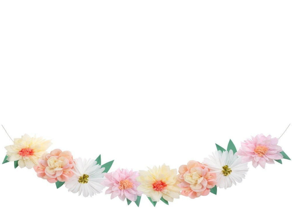 Giant floral garland and banner made by Meri Meri for tea party and summer garden floral party birthday in a box