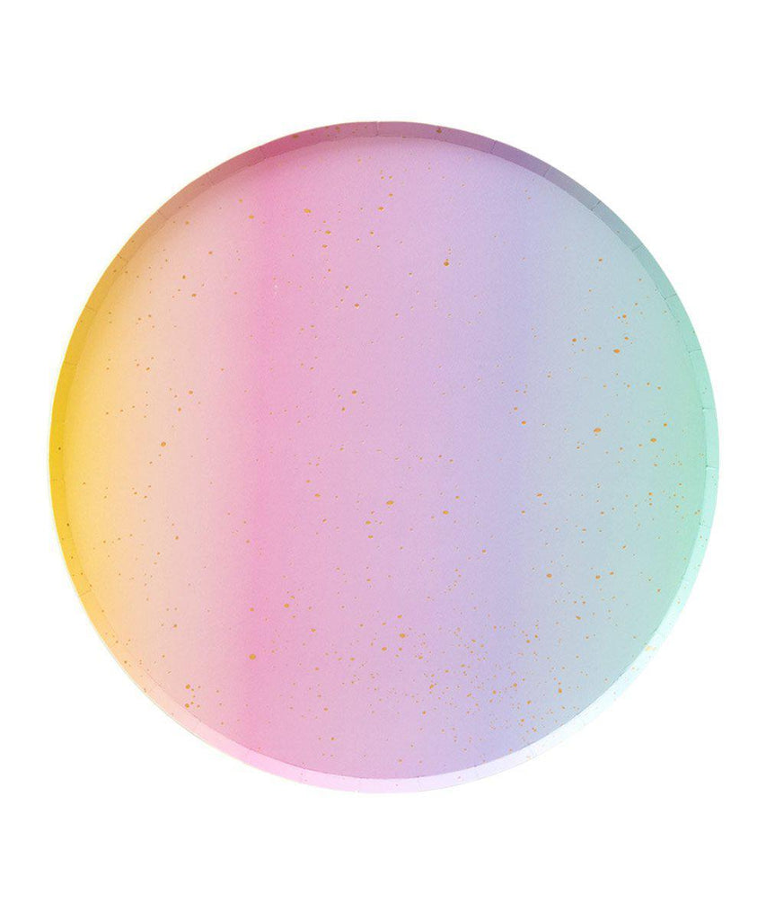 large rainbow ombre paper party plates. Made by Oh Happy Day