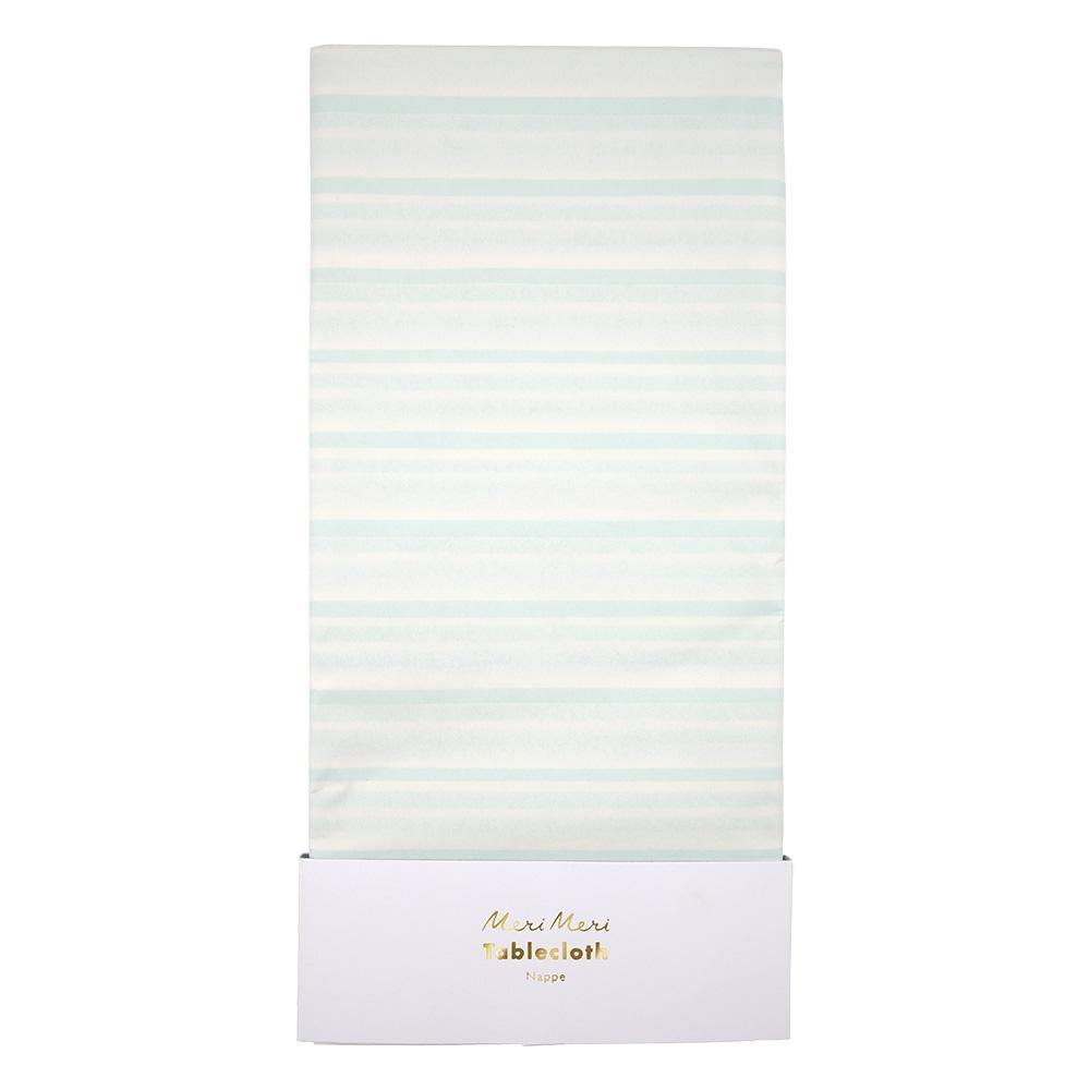Mint stripe tablecloth. Made by Meri Meri
