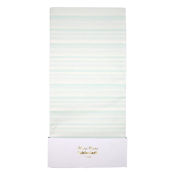mint stripe paper tablecloth by Meri Meri