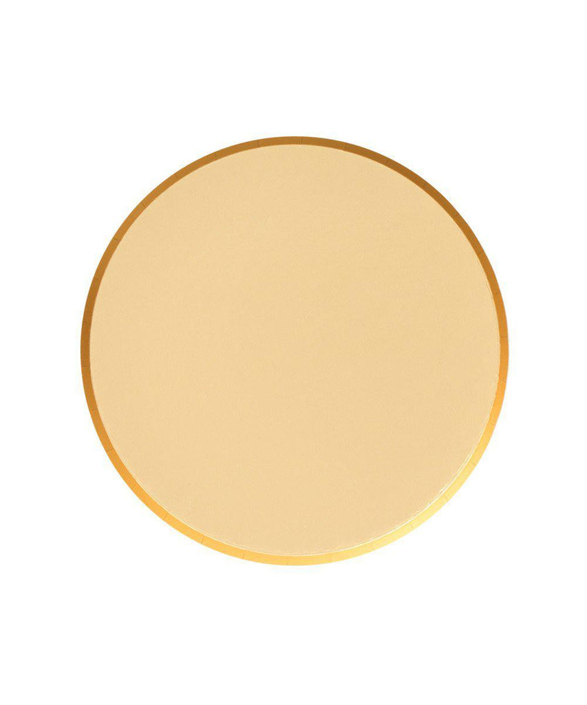 small gold paper party plate. Made by Oh Happy Day