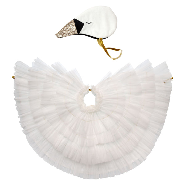 Swan tulle kids costume.  Princess and the swan theme party box.  Made by Meri Meri