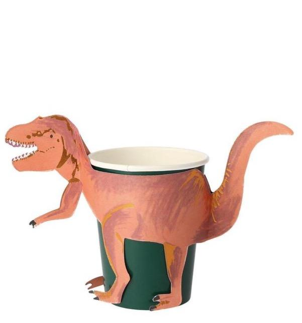 t-rex dino paper party cups made by Meri Meri
