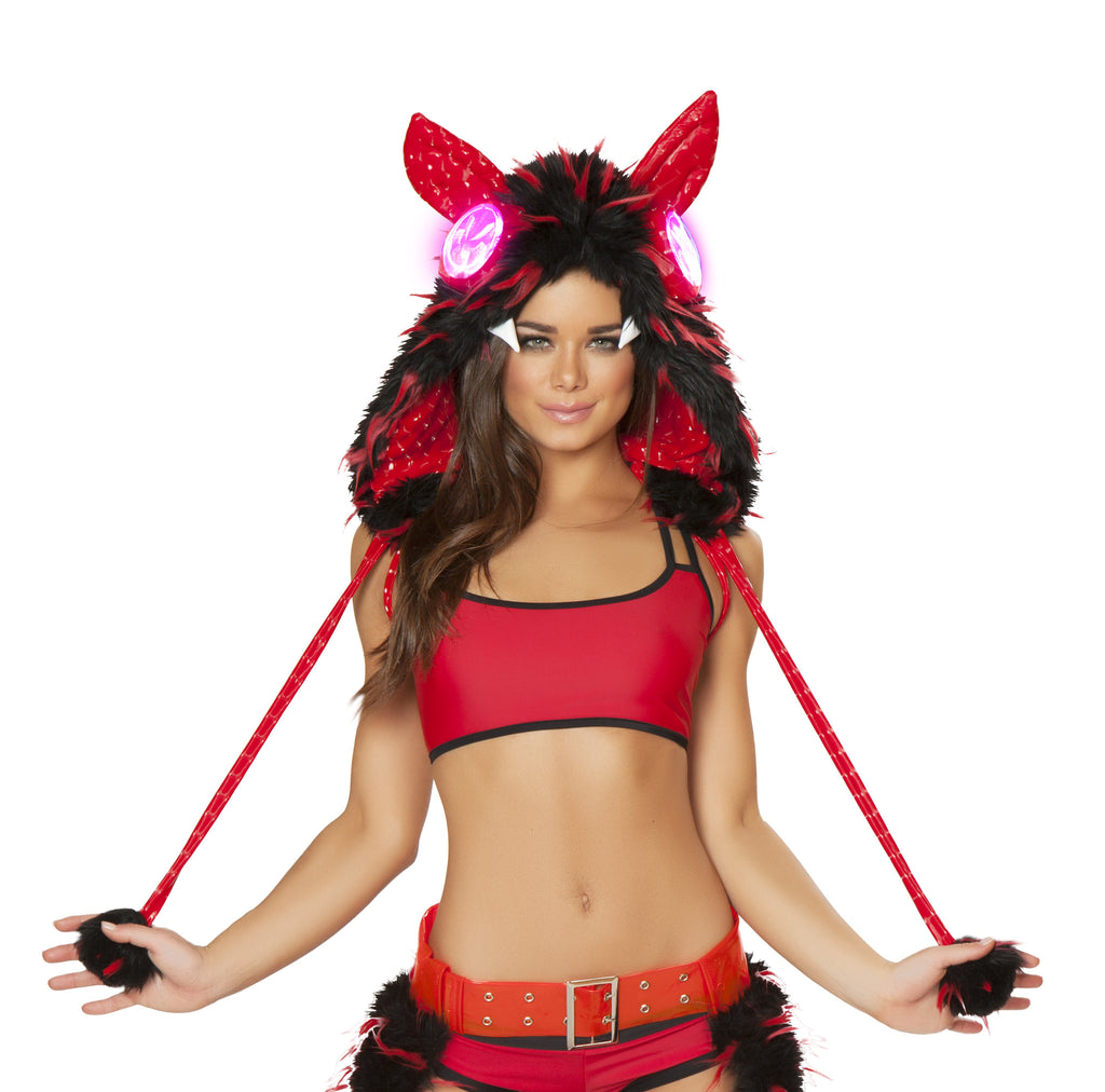 Kitsune Light Up Hood (Red/Black)