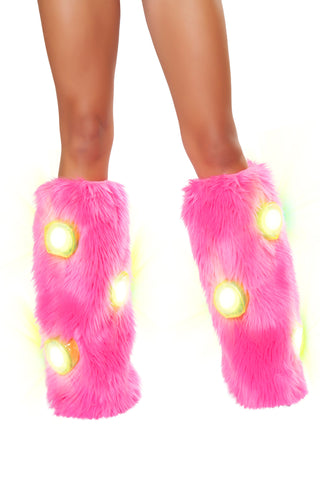 Light Up Furry Leg Warmers (Pink/White)