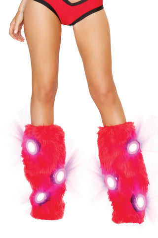Light Up Furry Leg Warmers (Red/White)
