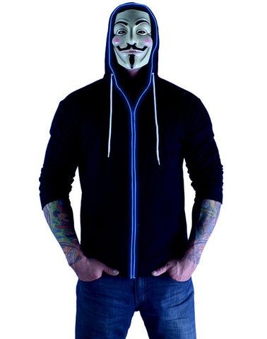 Glow in the Dark Light Up Hoodie - Blue Exorcist