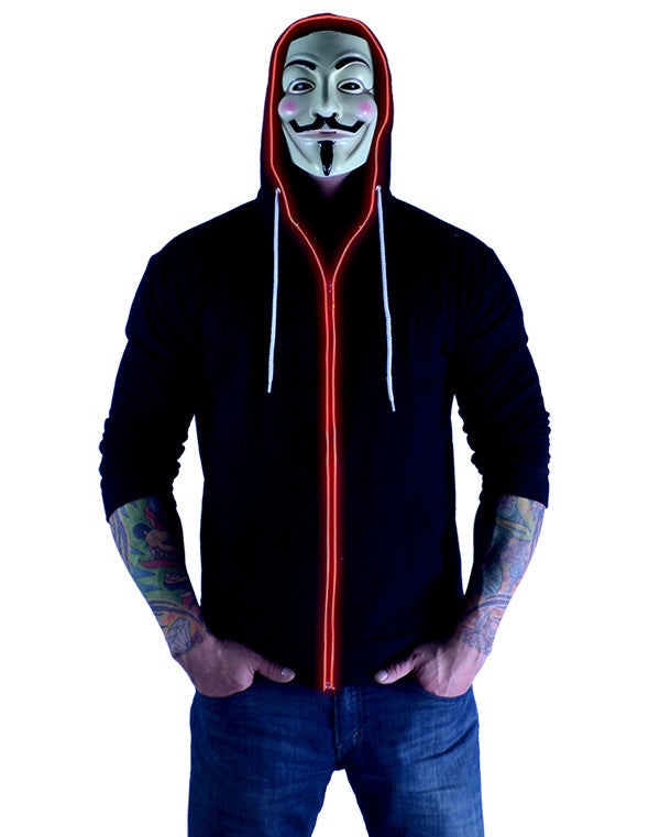 Glow in the Dark Light Up Hoodie - Fire Fist Red