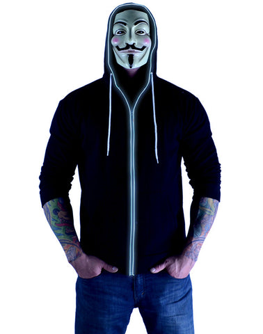 Glow in the Dark Light Up Hoodie - Tron White