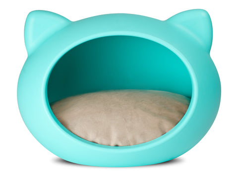 CAT CAVE Azul - Cojín Natural Plush