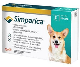 Simparica 40 mg ( 10-20 kg ) 3 tabletas