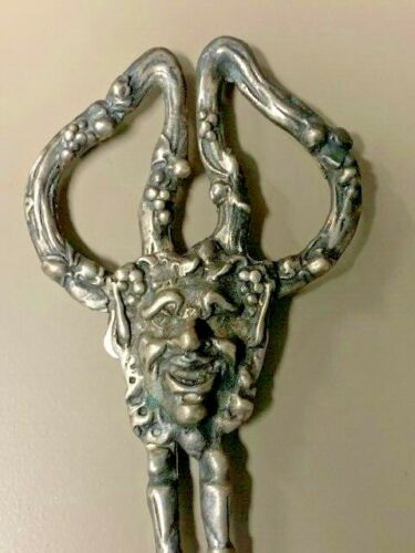 Antique, Solid Sterling Silver Shears w/ the Face of  a Deity:  Shears of Mithras