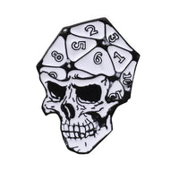 D20 Skull Polyhedral Dice Pin - Dungeons & Dragons Brooch