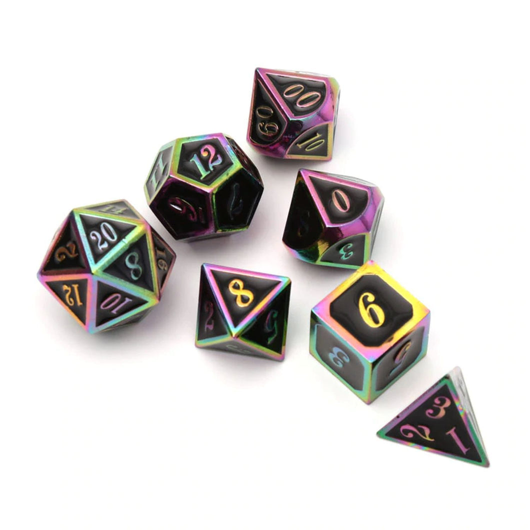 Black & Rainbow Embossed Metal Polyhedral Dice Set for Dungeons & Dragons