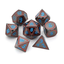 Load image into Gallery viewer, Black Gunmetal w/ Digital Blue Numbers Metal Polyhedral Dice Set for Dungeons & Dragons