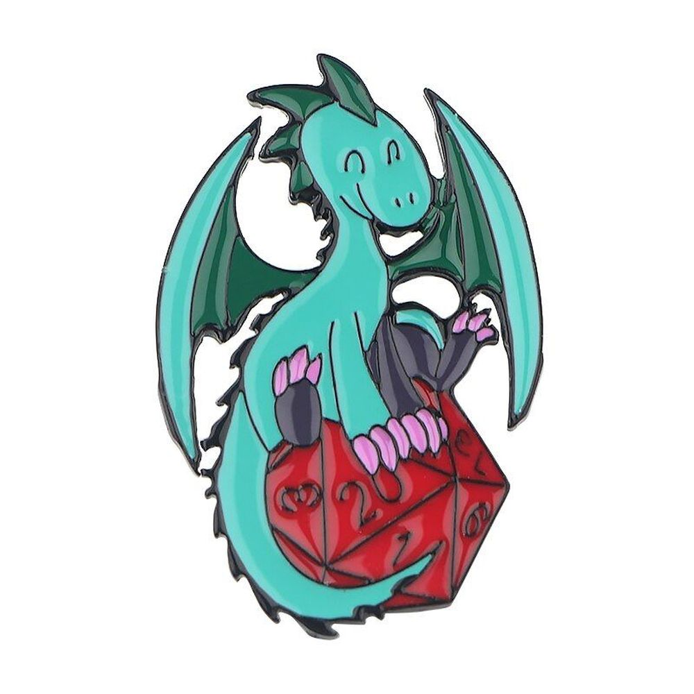Happy Dragon D20 Polyhedral Dice Pin - Dungeons & Dragons Brooch