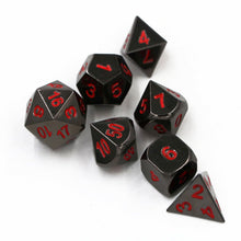 Load image into Gallery viewer, Black Gunmetal Metal Polyhedral Dice Set for Dungeons & Dragons