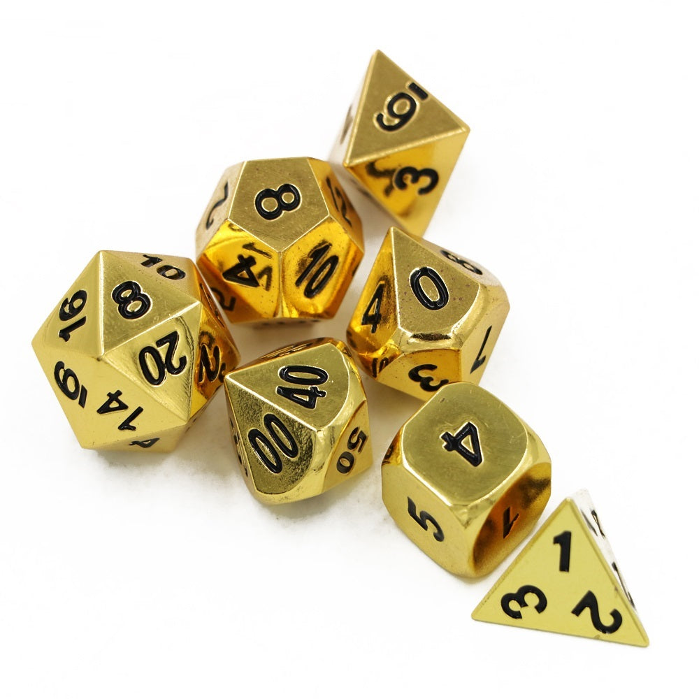 Gold Metal Polyhedral Dice Set for Dungeons & Dragons