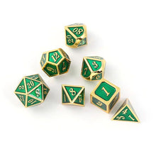 Load image into Gallery viewer, Green & Gold Embossed Metal Polyhedral Dice Set for Dungeons & Dragons